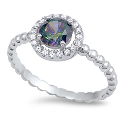 Mystic Topaz Halo Ring