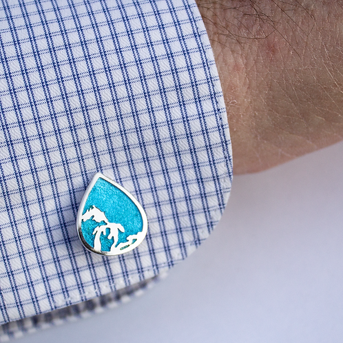 Great Lakes Water Drop Enamel Cuff Links