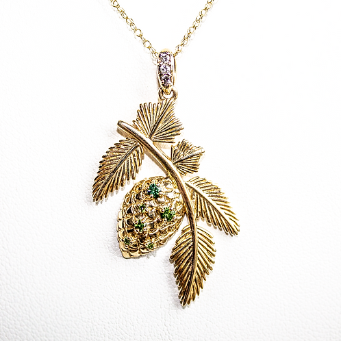 Large Green Diamond Pine Cone Necklace