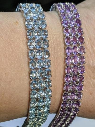 Triple Row Gemstone Bracelet