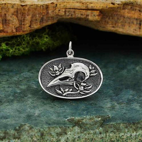 Oval Raven Skull Necklace