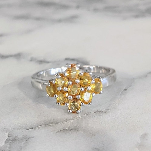 Orange Sapphire Floral Ring