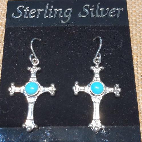 Turquoise Cross Earrings