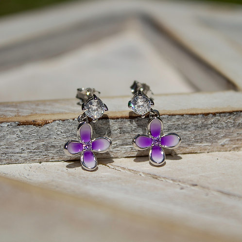 Sterling Silver Lilac Dangle Earrings