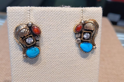 Coral, CZ & Turquoise Earrings