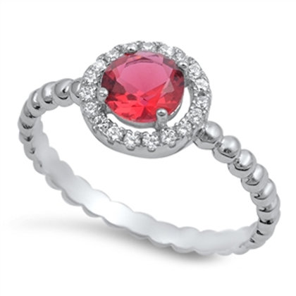 Lab-Created Ruby Halo Ring