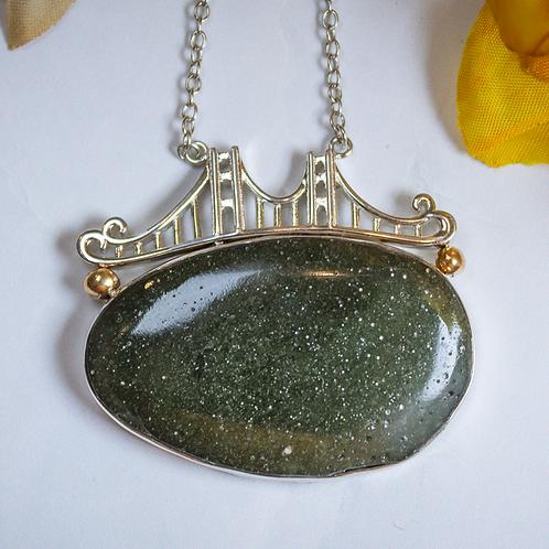 Oval Mackinac Green Bridge Necklace
