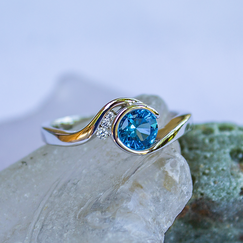 Blue Spinel Wave Ring