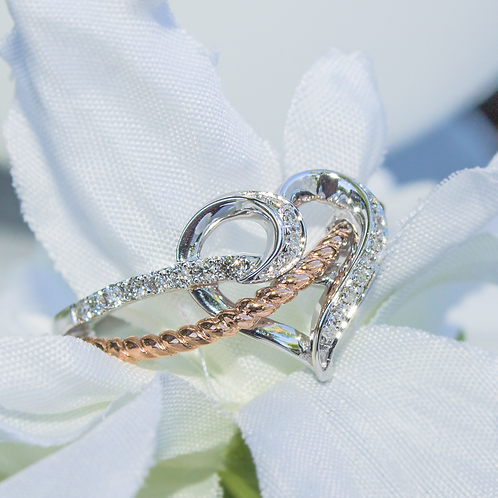 Rose Gold Rope Heart Ring