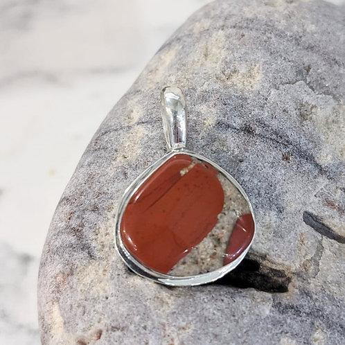 Wide-Bezel Pudding Stone with Jasper Pendant