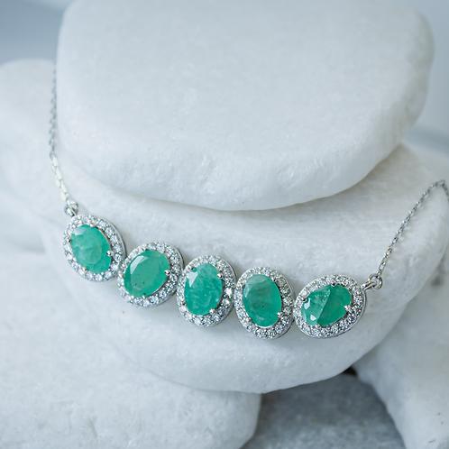 Emerald & White Zircon Necklace