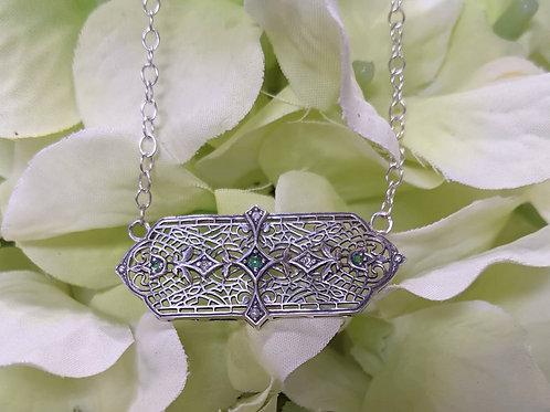 Sterling Silver, Diamond & Emerald Necklace
