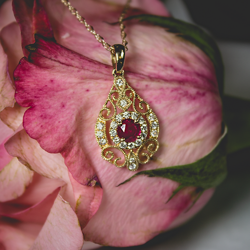 Brevani Ruby & Yellow Gold Necklace
