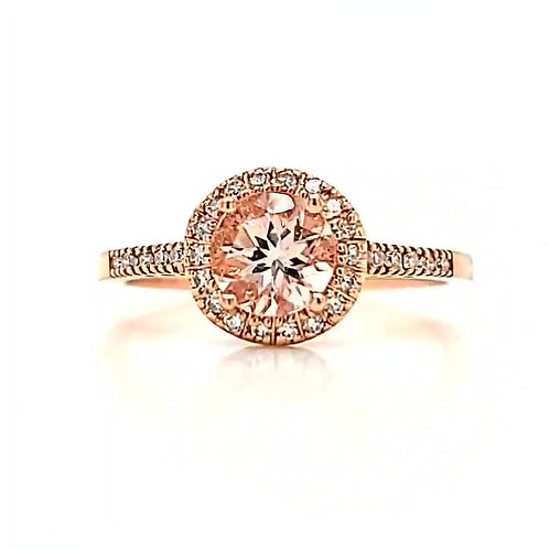 10kt Rose Gold, Morganite & Diamond Ring