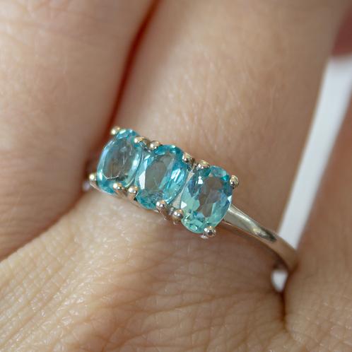 3-Stone Blue Topaz Ring