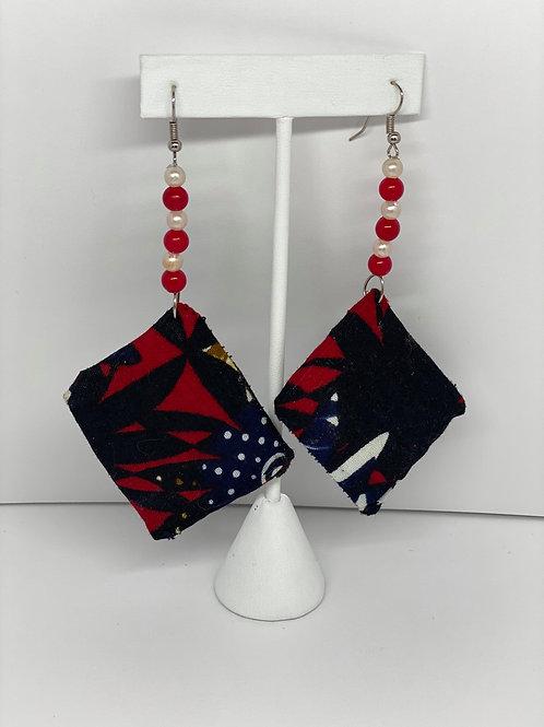 Red & Blue Multicolored Pearl Earrings