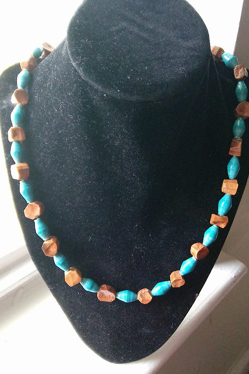 Turquise and Brown African Paper Beaded Necklace