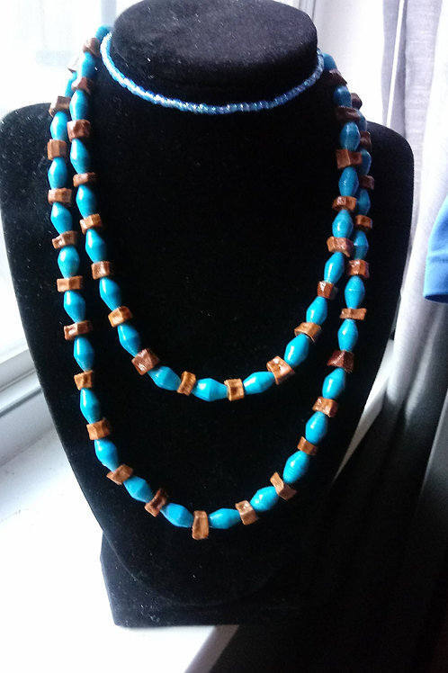 Light Blue Paper Beads and Light Brown Avocado Seeds Neck