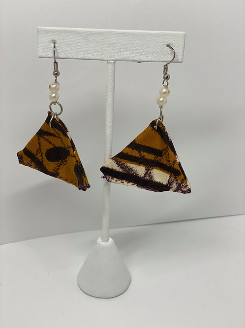 Black, Brown and Tan Triangle Cloth Earrings