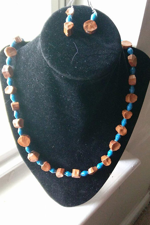 Blue and Brown African Paper Beaded Necklace Set
