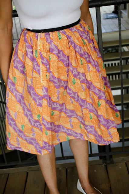 African Purple and Orange Skirt