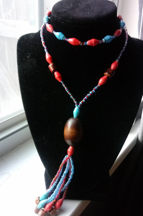 Blue and Red Paper Beaded Necklace