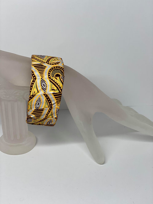 Gold, Maroon and Tan Cloth Bracelet