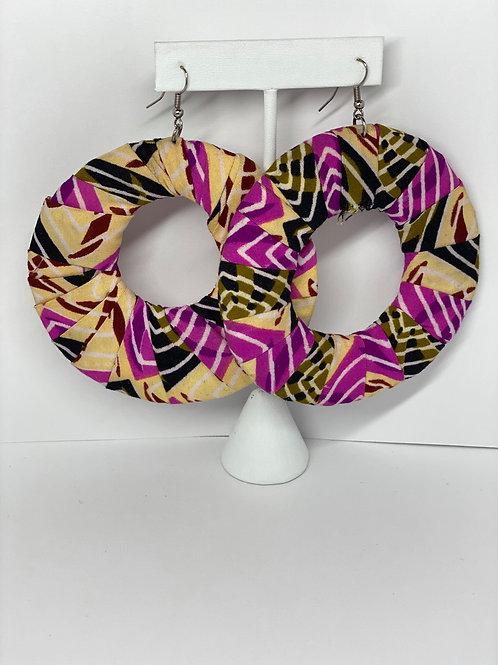 (L)  Muliticolored Pink, Cream, Black Cloth Earrings