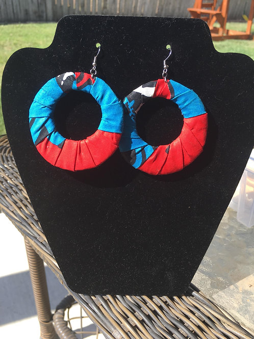 African Red and Blue Cloth Earrings