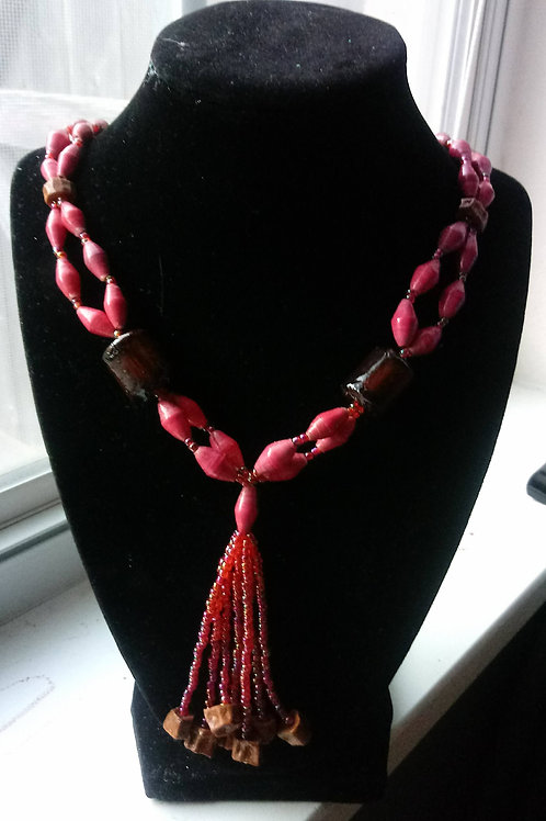 Pink and Brown Paper Beaded Necklace