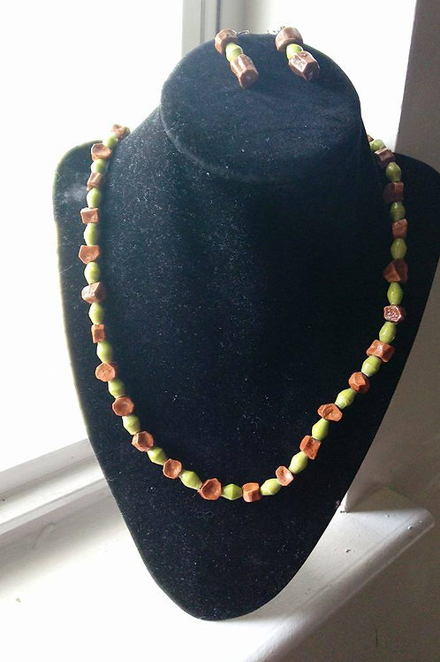 Lime Green and Brown African Paper Beaded Necklace Set