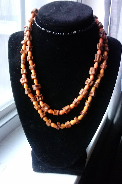Light Orange and Avocado seed Necklace Two Tier