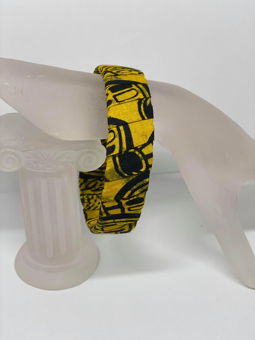 Yellow and Black Cloth Bracelet