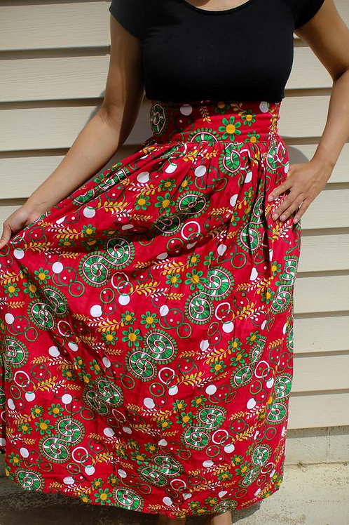 African Red and Green Skirt
