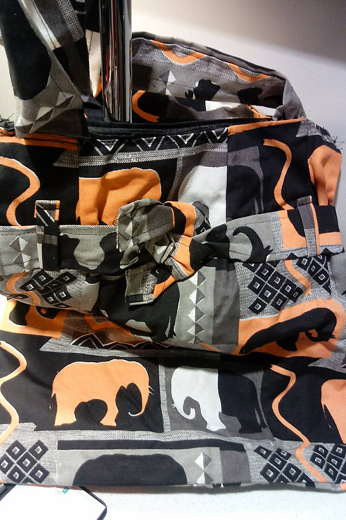 Orange and White Elephant Tote Bag