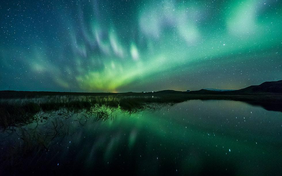 Aurora Borealis (Northern Lights) above.