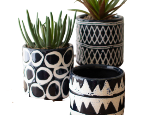 Ceramic Navy Pattern Planter