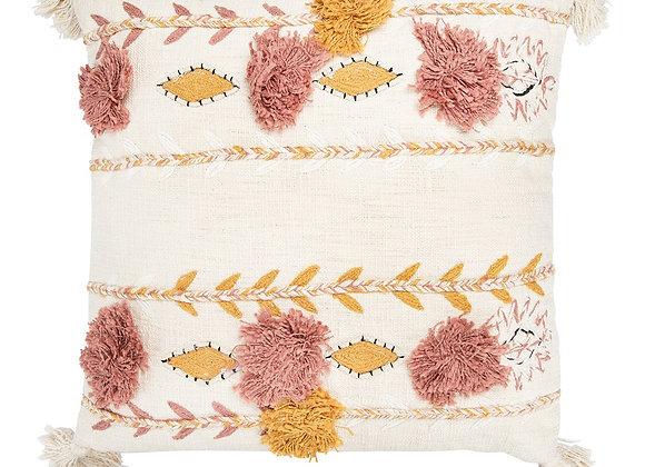 Cream Tassels & Applique Pillow