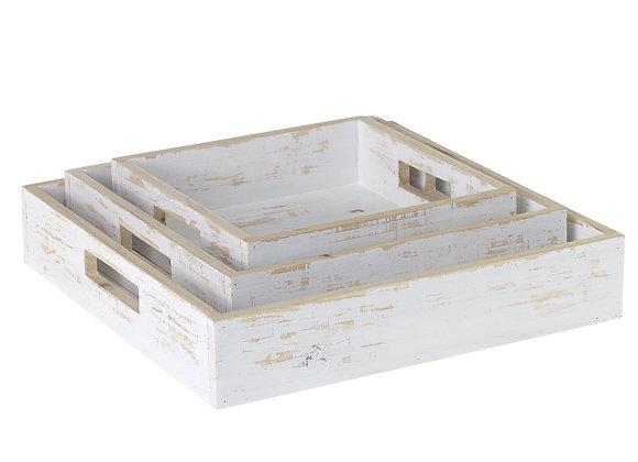 Whitewashed Wood Nesting Trays, S/3