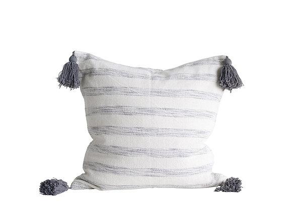 Grey & White Striped Tassel Pillow