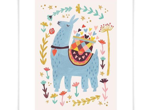Blue Llama Love Art Print