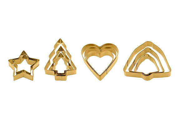 Gold Cookie Cutters S/3