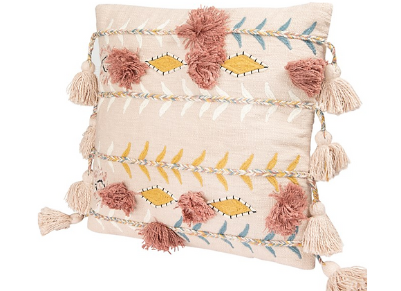 Pink Tassels & Applique Pillow