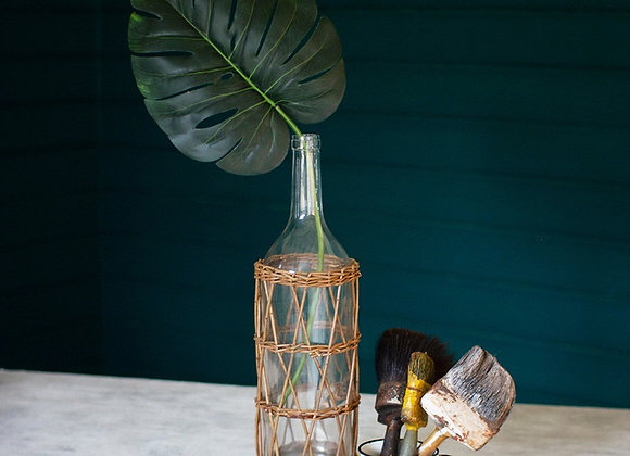 Wicker Wrapped Glass Bottle