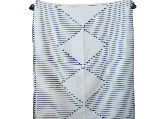 Navy & Cream Throw Blanket