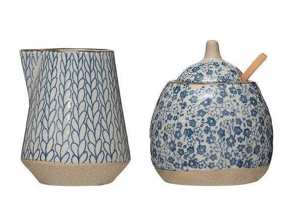 Blue & White Sugar Pot & Creamer Set, S/2