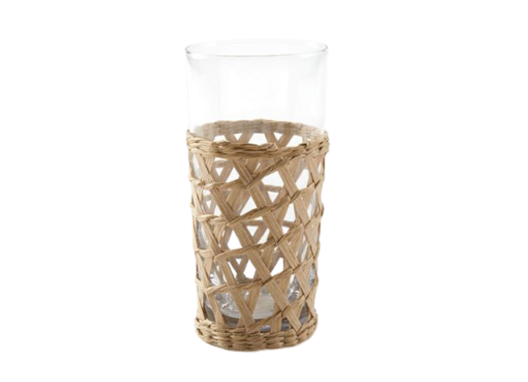Wicker Wrap Beverage Glass Tall 6.99