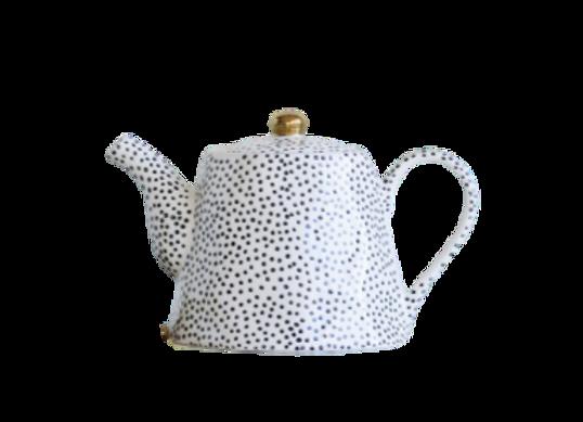 Black Dots Stoneware Teapot