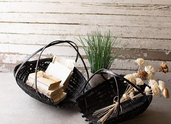 Black Bamboo Basket, S/2