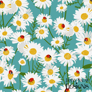 Chamomile and Ladybugs Floral